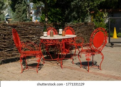 https www shutterstock com image photo old red antique wrought iron furniture 1771331129