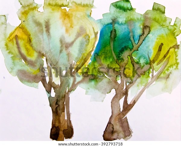 Olive Tree Plantation Watercolor Sketch Nature Stock Image 392793718