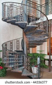 Wrought Iron Spiral Staircase Images Stock Photos Vectors   Wrought Iron Circular Staircase   Wooden   Living Room   Artistic   Rail   Modern