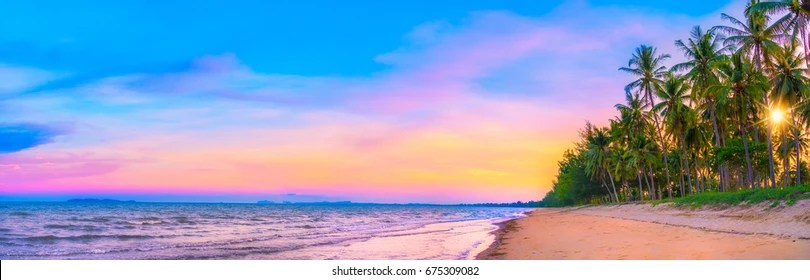 sunset beach panorama images