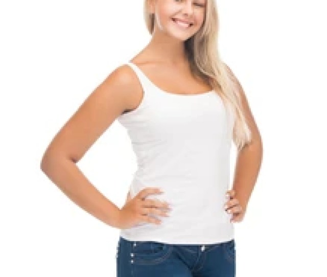 Picture Of Smiling Teenager Girl In Blank White T Shirt