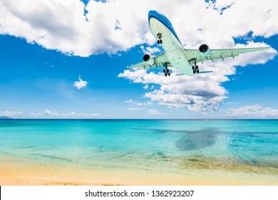 maho beach images stock
