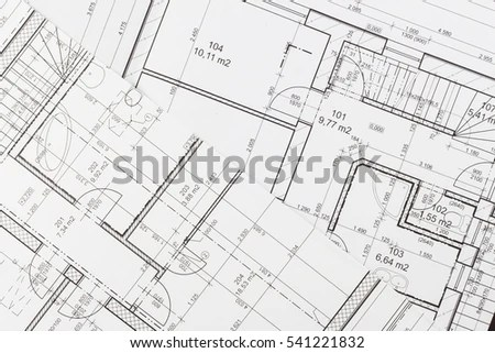 Plans Building Architectural Project Floor Plan Stock
