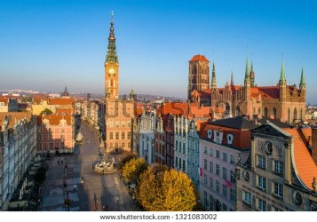 Poland Gdansk Old City Skyline Medieval Stock Photo Edit Now 1321083002