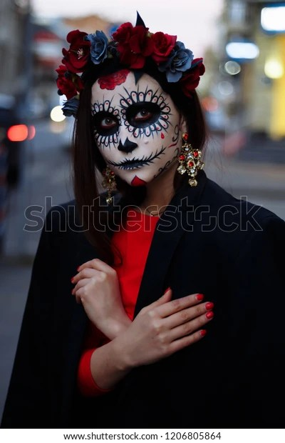 Many people around the world celebrate halloween, which occurs annually on october 31. Portrait Girl City Makeup Makeup Halloween Stock Photo Edit Now 1206805864