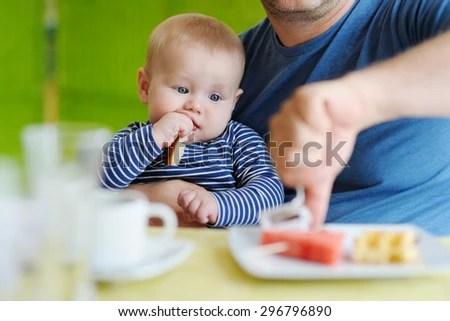Portrait Little Baby Boy Eating Piece Stock Photo (Edit Now) 296796890 - Shutterstock