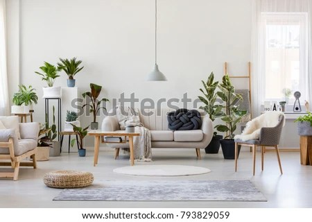 living room pouf setup with sectional gray armchair spacious stock photo edit now and in interior plants sofa near wooden table