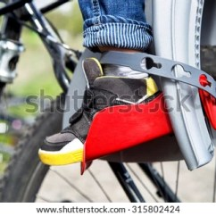 The Bike Chair Childrens Plastic Table And Chairs Protection On Bicycle Child Has Fastened Stock Photo Edit Now Security Belt To His Legs Kid