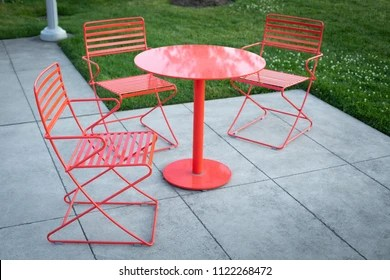 https www shutterstock com image photo red metal patio furniture matching table 1122268472