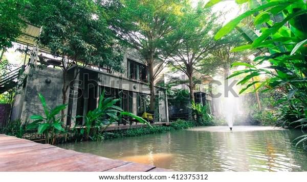 Resort Style Amphawa Samut Songkhram Thailand Stock Photo