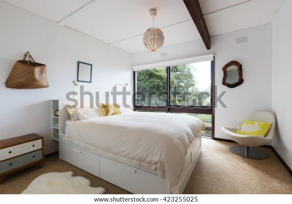 Retro Styled Guest Bedroom 70s Beach Vintage Stock Image 423255025