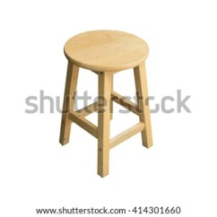 Round Wooden Chair Clearance Patio Covers Without Backrest Isolated Stock Photo Edit Now A On White Background Light From Right