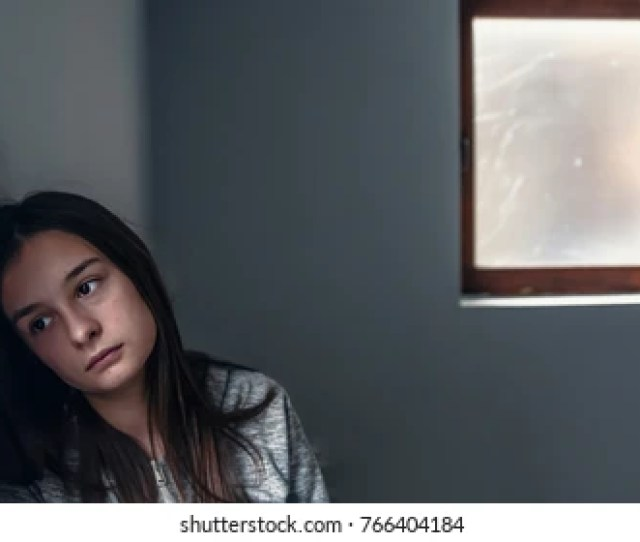 Sad Depression Sad Lonely Woman Sad Teenage Girl Looking Thoughtful About Troubles