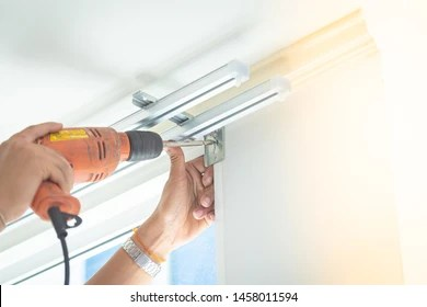 https www shutterstock com image photo screw screws install curtains by professional 1458011594