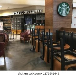 Chair Upside Down On Wall Hanging Kerala Images Stock Photos Vectors Shutterstock In September 2018 Front View Of Starbucks Coffee Shop Which Is Closed Turn Off