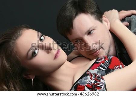 Sex Couple Portrait Of Seductive Sexy Passionate Couple