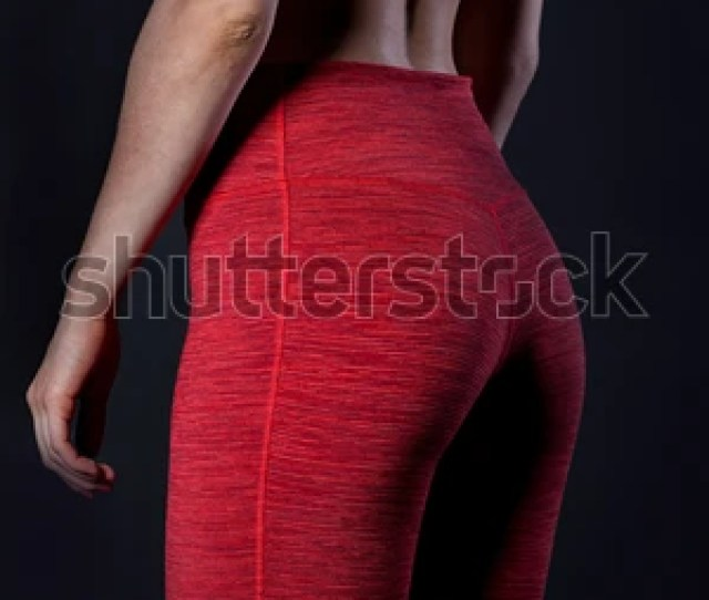 Sexy Beautiful Athletic Ass Beautiful Athletic Woman Girl In A Red Sports Tights