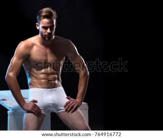 Sexy Handsome Male Model In Underwear Handsome Muscular Man In White Boxer Shorts Handsome