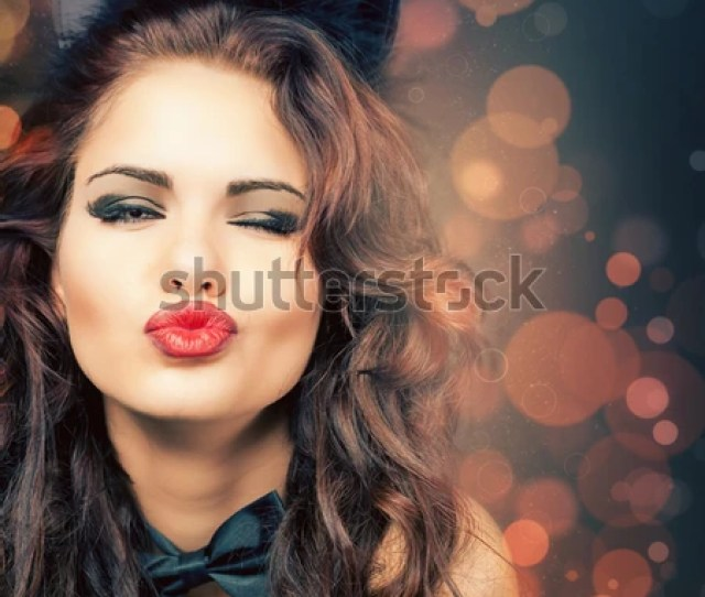 Sexy Woman With Carnival Cat Ears At Venetian Party Halloween Blow Kiss Fashion Venetian Carnival Sex Shop Hot Babe Party Night Girl Blur Image