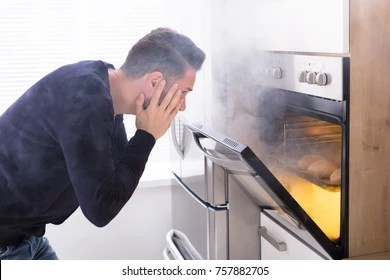 Image result for man-bad-cook-fire-oven