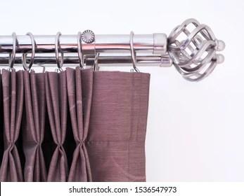 https www shutterstock com image photo silver curtain rail rod end brown 1536547973