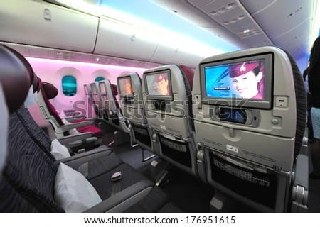 Singapore February 12 Ious And Comfortable Economy Class Cabin Of Qatar Airways Boeing 787