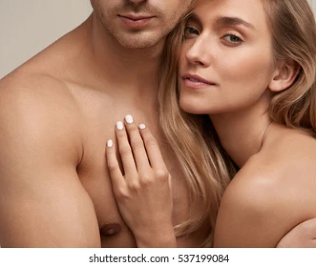 Romantic Couple With Naked Bodies Smooth Soft Clean Skin Embracing Closeup Of