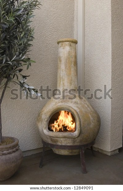 https www shutterstock com image photo small outdoor patio fireplace kiva design 12849091