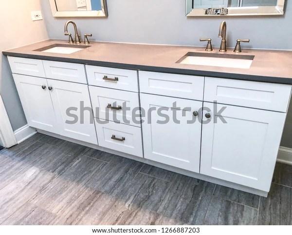 Spacious Bathroom Vanity Counter Top Gray Stock Photo Edit Now 1266887203