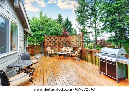Spacious Wooden Deck Patio Area Attached Stock Photo (Edit Now) 469892549 - Shutterstock