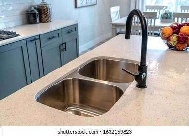 https www shutterstock com image photo stainless steel undermount double basin kitchen 1632159823