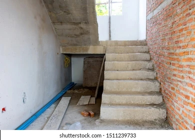 Staircase Cement Structure New House Background Stock Photo Edit | Ladder Design For Small House | Small Cabin | Inexpensive | Elegant | Easy | Retractable