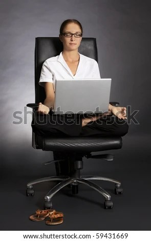 posture chair work grey upholstered dining stressless attractive office woman sitting stock photo edit at in yoga lotus with