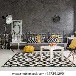 Images Of Living Rooms With Grey Walls Restoration Hardware Room Stylish Spacious Stock Photo Edit Now And Black White Yellow Decorations