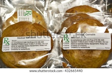 SUN VALLEY, CA - MAY 26, 2016: Numerous edible medical marijuana cookies labeled, packaged and stacked for sale at a medical marijuana dispensary in Sun Valley, CA on May 26, 2016.