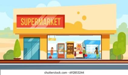 supermarket front super exterior market shopping vector cartoon illustration building facade seller line flat shutterstock gas station checkout assistants grocery