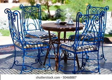 https www shutterstock com image photo table blue chairs garden sunny day 50468887