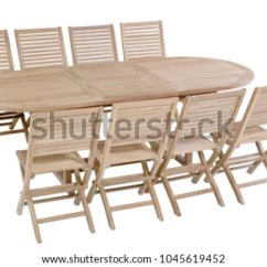 Teak Table And Chairs Garden Antique Rocking 1800s Oval Furniture Stock Photo Edit Now With Chair Isolated In White