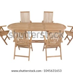 Teak Table And Chairs Garden Chair Covers For Rent In Trinidad Oval Furniture Stock Photo Edit Now With Isolated White