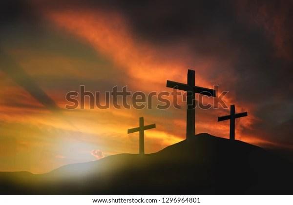 three crosses on mountain