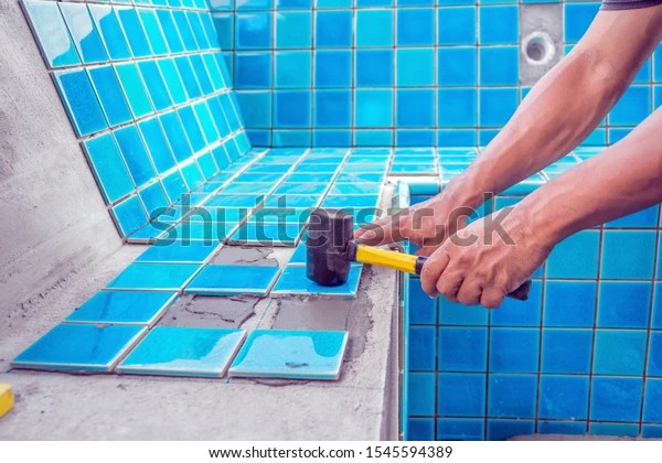 https www shutterstock com image photo tiled pool man hand while using 1545594389