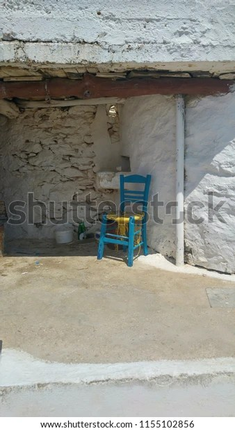 Traditional Blue Fishermans Chair Traditional Greek Stock
