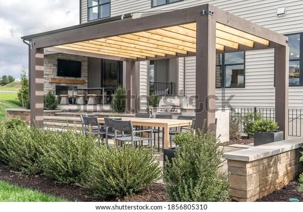 https www shutterstock com image photo trendy outdoor patio pergola shade structure 1856805310