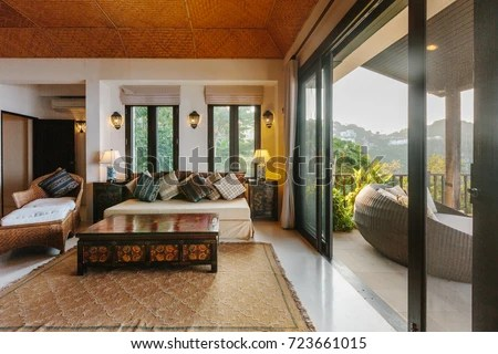 veranda living rooms small room ideas no fireplace tropical luxury villa interior stock photo edit now with sea view