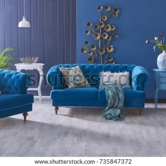 Classic Living Room Decor Colders Furniture Turquoise Sofa Decoration Stock Photo Edit Now Grey And Blue Wall Horizontal Banner With Empty Wooden Floor