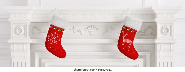 Close Up On Christmas Tree And Stocking Hanging On Fireplace Stock Fireplace Mantle Stock Images, Royalty-free Images