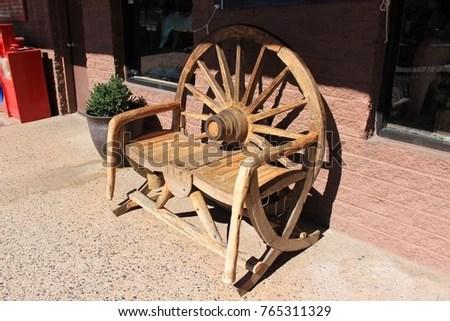 unusual wooden chair glider nursery two sedona arizona usa stock photo edit now for