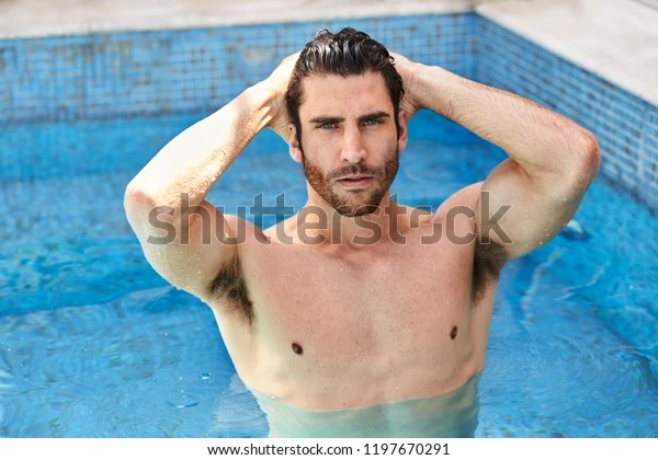 Vacation Guy Pool Hands Hair Portrait Stock Photo Edit Now 1197670291