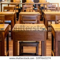Study Desk And Chair Sit Stand Reviews Vintage Classroom School Rows Stock Photo Edit Now In Of Wooden