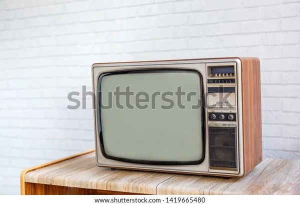 https www shutterstock com image photo vintage old television on wood table 1419665480